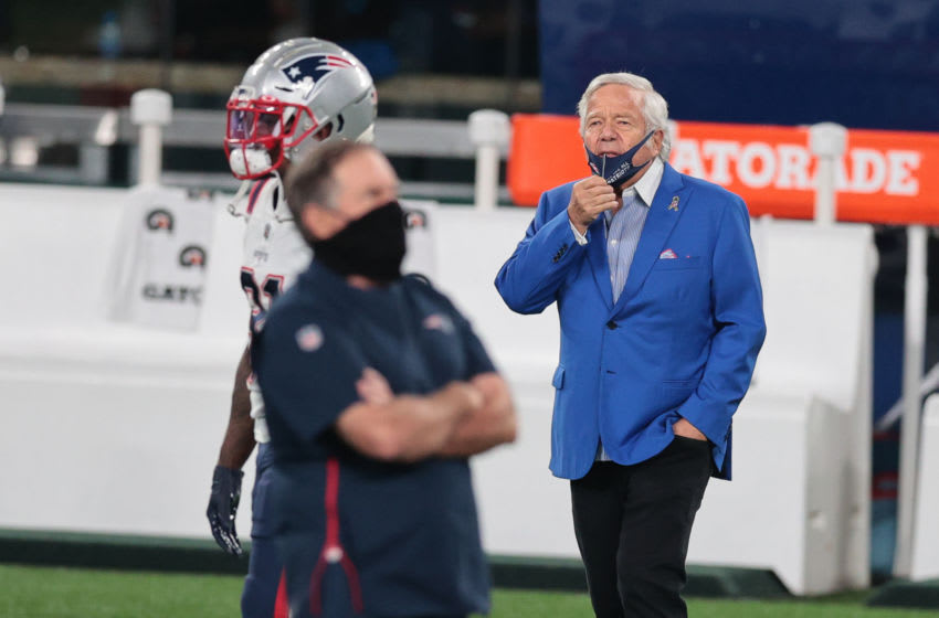 Nov 9, 2020; East Rutherford, New Jersey, USA; New England Patriots owner Robert Kraft (right) looks on behind head coach Bill Belichick before the game against the New York Jets at MetLife Stadium. Mandatory Credit: Vincent Carchietta-USA TODAY Sports