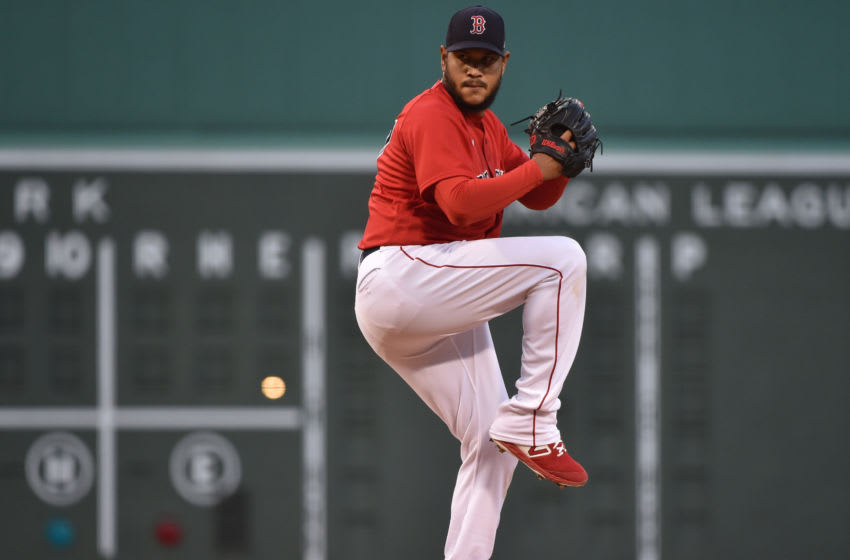 Apr 20, 2021; Boston, Massachusetts, USA; Boston Red Sox starting pitcher Eduardo Rodriguez (57) pitches during the first inning against the Toronto Blue Jays at Fenway Park. Mandatory Credit: Bob DeChiara-USA TODAY Sports