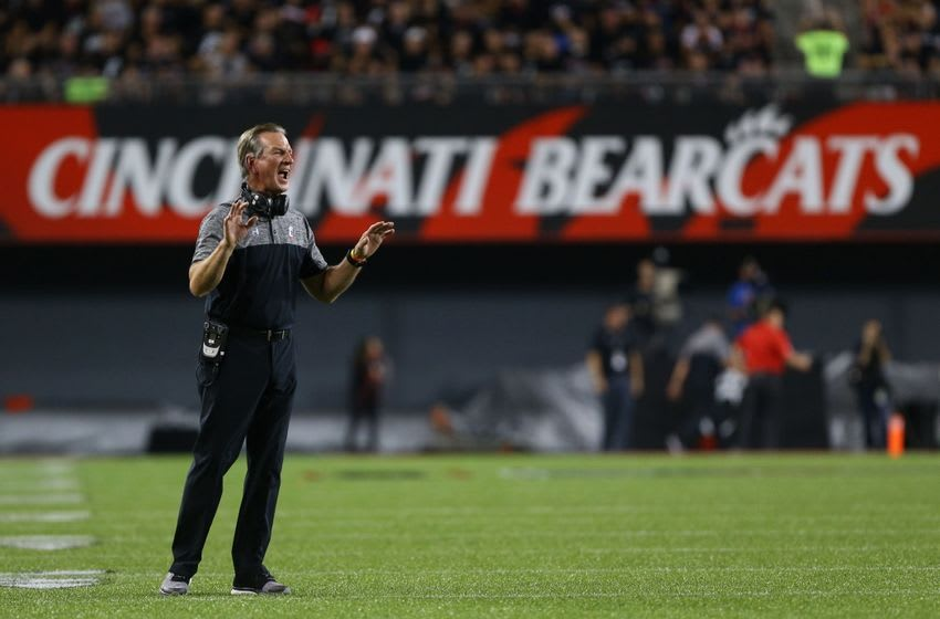 Sep 15, 2016; Cincinnati, OH, USA; Cincinnati Bearcats head coach Tommy Tuberville reacts from the sidelines against the Houston Cougars in the first half at Nippert Stadium. Mandatory Credit: Aaron Doster-USA TODAY Sports