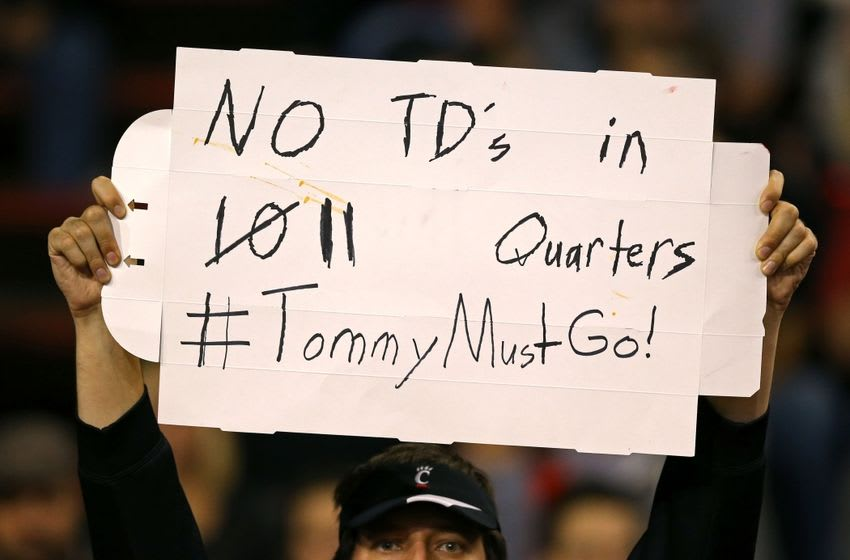 Nov 18, 2016; Cincinnati, OH, USA; A fan holds a sign in reference to Cincinnati Bearcats head coach Tommy Tuberville at Nippert Stadium. Memphis won 34-7. Mandatory Credit: Aaron Doster-USA TODAY Sports
