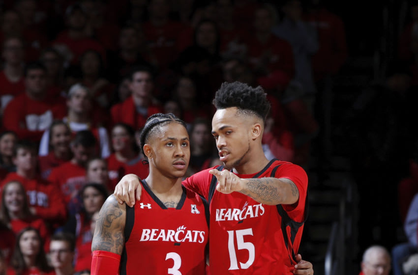 CINCINNATI, OH - DECEMBER 08: Justin Jenifer #3 and Cane Broome #15 of the Cincinnati Bearcats look on in the second half of the game against the Xavier Musketeers at Fifth Third Arena on December 8, 2018 in Cincinnati, Ohio. Cincinnati won 62-47. (Photo by Joe Robbins/Getty Images)