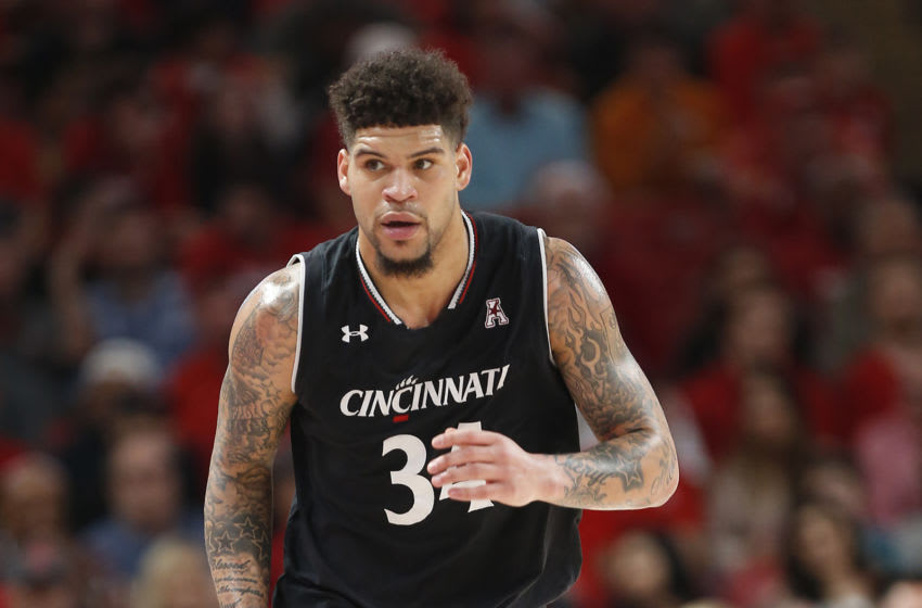 HOUSTON, TEXAS - FEBRUARY 10: Jarron Cumberland #34 of the Cincinnati Bearcats runs up court after a basket against the Houston Cougars during the second half at Fertitta Center on February 10, 2019 in Houston, Texas. (Photo by Bob Levey/Getty Images)