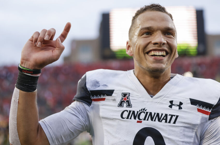SOUTH BEND, IN - OCTOBER 02: Desmond Ridder #9 of the Cincinnati Bearcats smiles following the game against the Notre Dame Fighting Irish at Notre Dame Stadium on October 2, 2021 in South Bend, Indiana. (Photo by Michael Hickey/Getty Images)