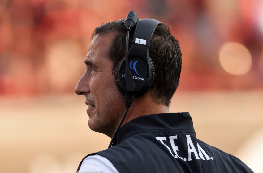 CINCINNATI, OHIO - SEPTEMBER 11: Head coach Luke Fickell of the Cincinnati Bearcats looks on in the fourth quarter against the Murray State Racers at Nippert Stadium on September 11, 2021 in Cincinnati, Ohio. (Photo by Dylan Buell/Getty Images)