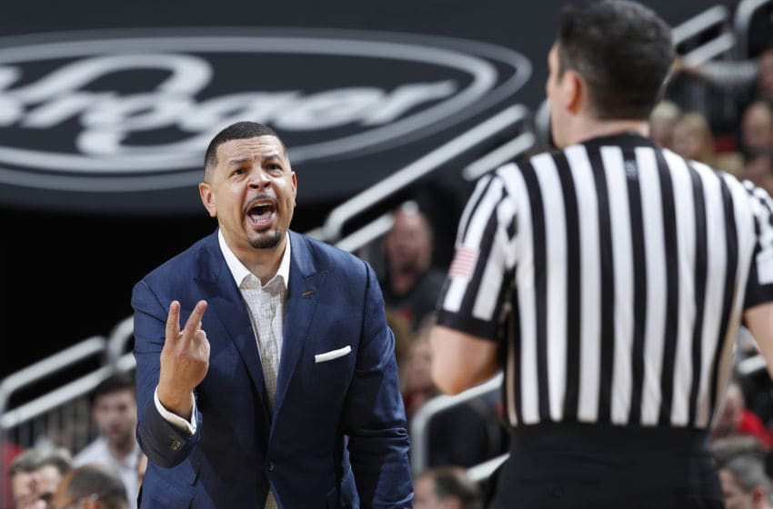 LOUISVILLE, KY - JANUARY 26: Head coach Jeff Capel of the Pittsburgh Panthers reacts in the second half of the game against the Louisville Cardinals at KFC YUM! Center on January 26, 2019 in Louisville, Kentucky. Louisville won 66-51. (Photo by Joe Robbins/Getty Images)