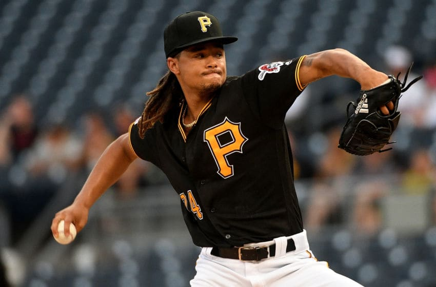 PITTSBURGH, PA - AUGUST 20: Chris Archer #24 of the Pittsburgh Pirates delivers a pitch in the first inning during the game against the Washington Nationals at PNC Park on August 20, 2019 in Pittsburgh, Pennsylvania. (Photo by Justin Berl/Getty Images)
