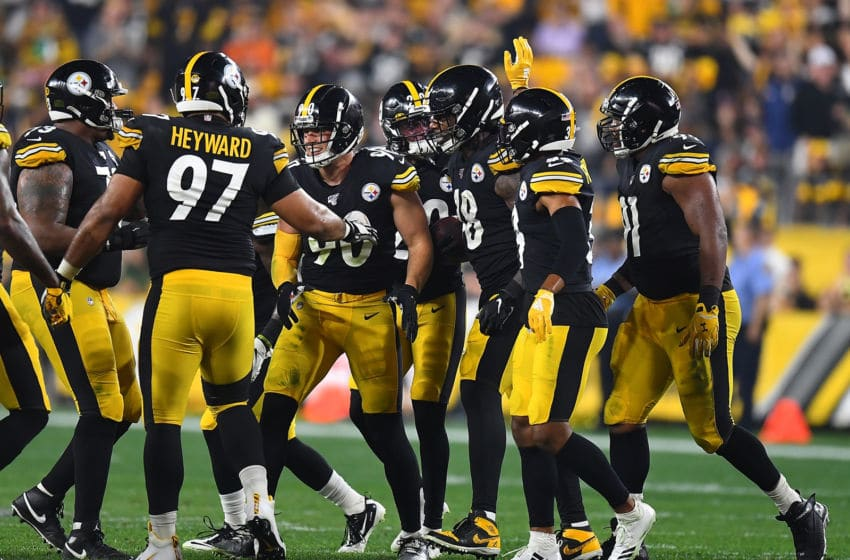 PITTSBURGH, PA - SEPTEMBER 30: Bud Dupree #48 of the Pittsburgh Steelers celebrates with teammates after forcing a fumble during the second quarter against the Cincinnati Bengals at Heinz Field on September 30, 2019 in Pittsburgh, Pennsylvania. (Photo by Joe Sargent/Getty Images)