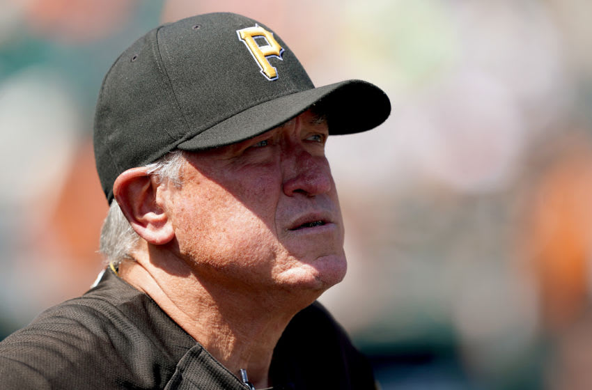SAN FRANCISCO, CALIFORNIA - SEPTEMBER 12: Manager Clint Hurdle #13 of the Pittsburgh Pirates looks on from the dugout against the San Francisco Giants in the bottom of the first inning at Oracle Park on September 12, 2019 in San Francisco, California. (Photo by Thearon W. Henderson/Getty Images)