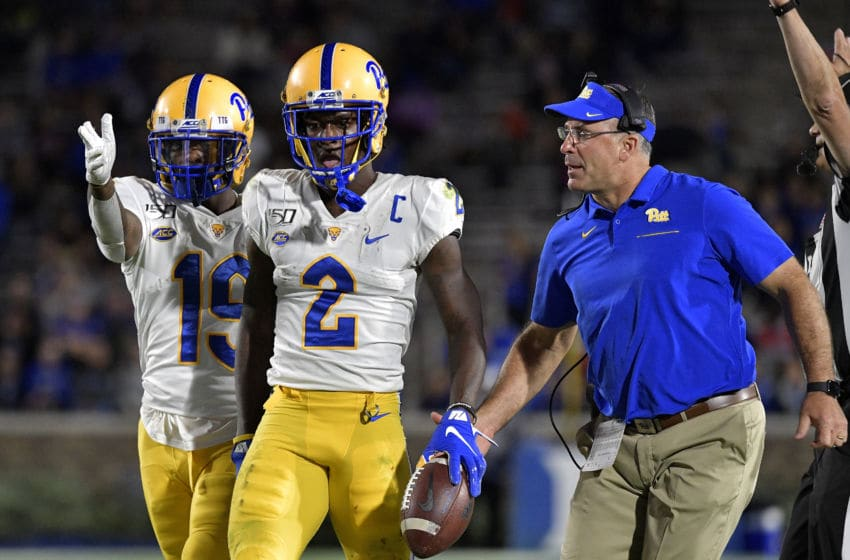 DURHAM, NORTH CAROLINA - OCTOBER 05: V'Lique Carter #19 and head coach Pat Narduzzi congratulate Maurice Ffrench #2 of the Pittsburgh Panthers after an acrobatic catch against the Duke Blue Devils during the first half of their game at Wallace Wade Stadium on October 05, 2019 in Durham, North Carolina. (Photo by Grant Halverson/Getty Images)