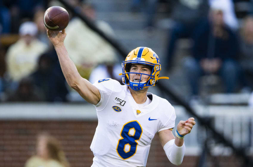 ATLANTA, GA - NOVEMBER 2: Kenny Pickett #8 of the Pittsburgh Panthers throws a pass during the second half of a game against the Georgia Tech Yellow Jackets at Bobby Dodd Stadium on November 2, 2019 in Atlanta, Georgia. (Photo by Carmen Mandato/Getty Images)