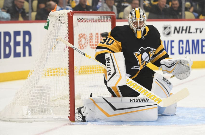 PITTSBURGH, PA - OCTOBER 08: Matt Murray #30 of the Pittsburgh Penguins tends goal in the first period during the game against the Winnipeg Jets at PPG PAINTS Arena on October 8, 2019 in Pittsburgh, Pennsylvania. (Photo by Justin Berl/Getty Images)