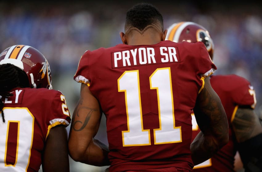 BALTIMORE, MD - AUGUST 10: Wide receiver Terrelle Pryor #11 of the Washington Redskins looks on in the huddle against the Baltimore Ravens during a preseason game at M&T Bank Stadium on August 10, 2017 in Baltimore, Maryland. (Photo by Rob Carr/Getty Images)