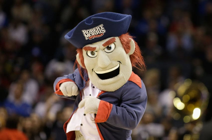 CHARLOTTE, NC - MARCH 20: The mascot of the Robert Morris Colonials in action against the Duke Blue Devils during the second round of the 2015 NCAA Men's Basketball Tournament at Time Warner Cable Arena on March 20, 2015 in Charlotte, North Carolina. (Photo by Bob Leverone/Getty Images)