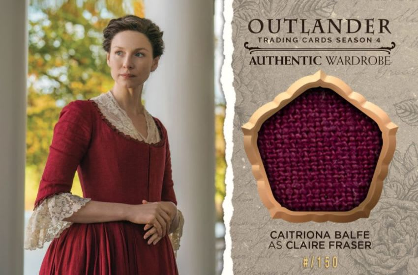 Cryptozoic Entertainment Oversized Wardrobe Trading Card featuring Claire from Season 4 of Outlander and part of the fabric used to make her costume.