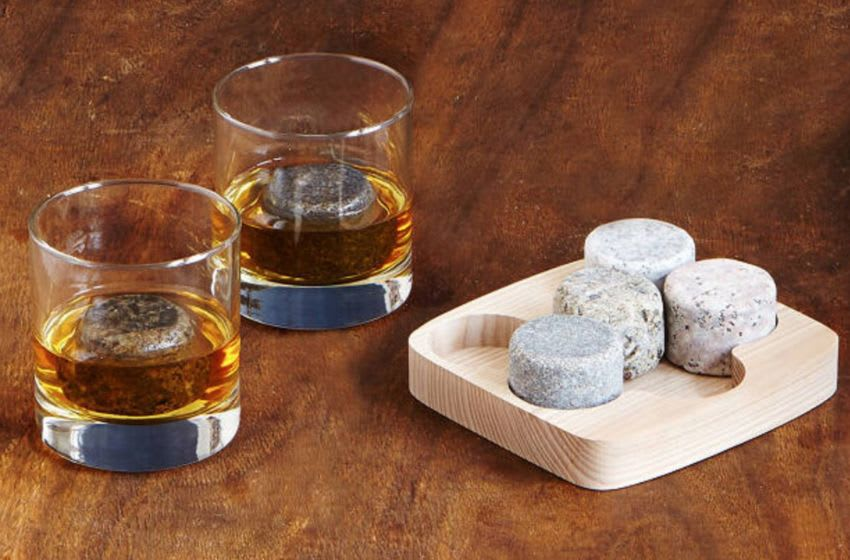 Discover Arra David and Anne Johnson's On the Rocks whisky tumblers and stones kit on Uncommon Goods.