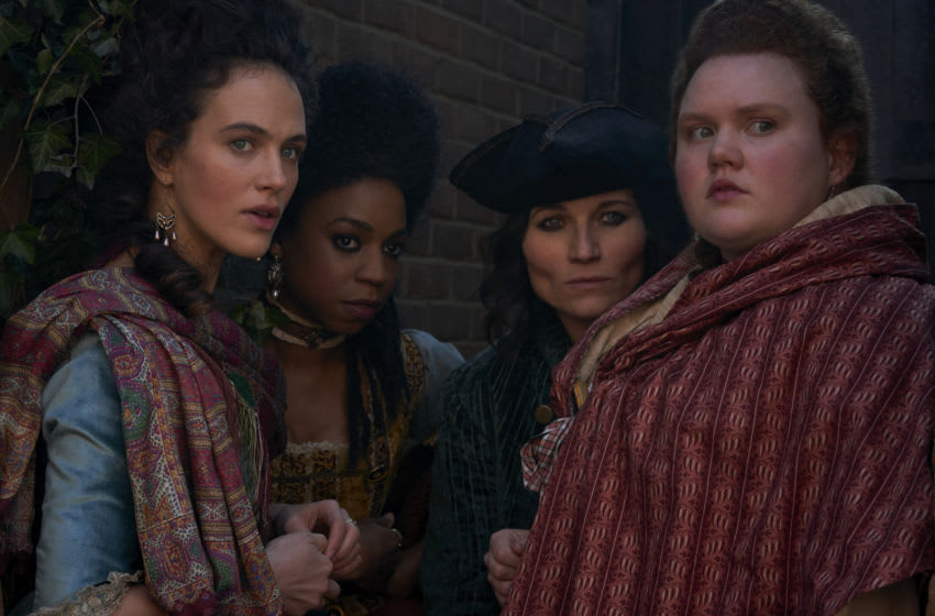 HARLOTS -- Episode 302 -- With CharlotteÕs brothel fire-damaged and all of her savings up in smoke, she is determined to retaliate - but the Wells women will need to be clever: The Pinchers are violent men. Lucy offers to help her sister in a way that also benefits her new business. Meanwhile, in Bedlam, Lydia and Kate dream of escape, LydiaÕs sights set on a return to her old home. Charlotte (Jessica Brown Findlay), (Pippa Bennett-Warner), Nancy (Kate Fleetwood), and Fanny (Bronwyn James), shown. (Photo by: Des Willie/Hulu)