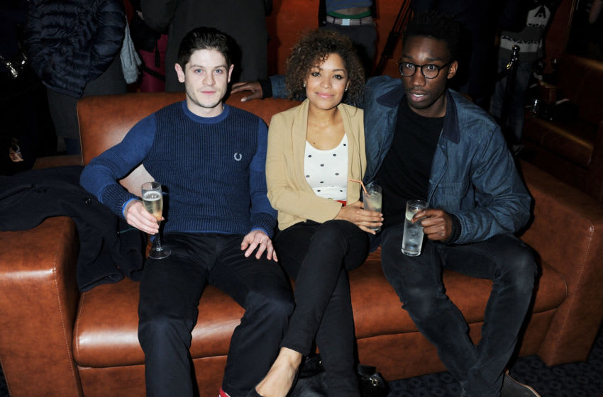 LONDON, ENGLAND - JANUARY 10: (EMBARGOED FOR PUBLICATION IN UK TABLOID NEWSPAPERS UNTIL 48 HOURS AFTER CREATE DATE AND TIME. MANDATORY CREDIT PHOTO BY DAVE M. BENETT/GETTY IMAGES REQUIRED (L to R) Actors Iwan Rheon, Antonia Thomas and Nathan Stewart-Jarrett attend a Gala Screening of 'Shame' at The Curzon Mayfair on January 10, 2012 in London, England. (Photo by Dave M. Benett/Getty Images)