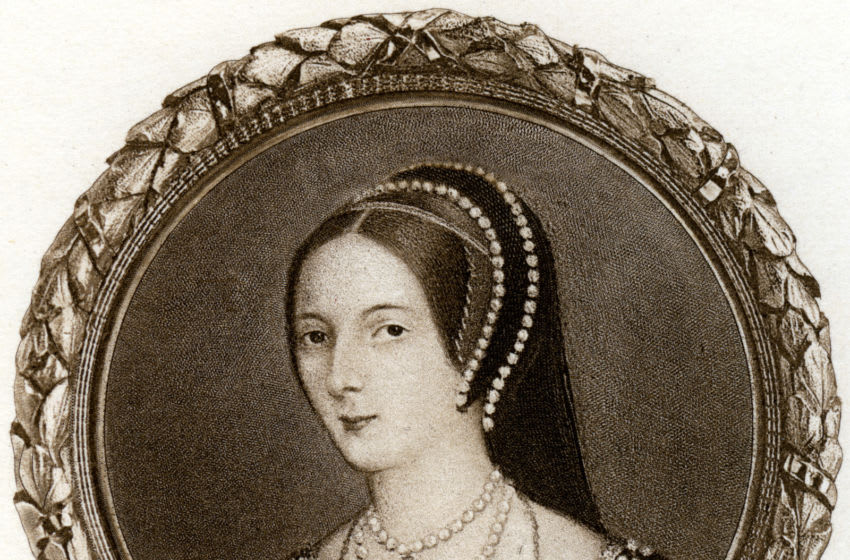 Anne Boleyn, 1530s, (1902). Anne Boleyn (c1504-1536) married Henry VIII in 1533. She provided Henry with a daughter, the future Elizabeth I (1533-1603), but not the male heir he desired. Henry had Anne arrested on charges of adultery, incest and treason. Although the charges were almost certainly fabricated, Anne was found guilty and beheaded on 19 May 1536. Henry married his third wife, Jane Seymour, the day after Anne's execution. From a miniature in the collection of the Duke of Buccleuch, at Montagu House, London. Illustration from Henry VIII, by A F Pollard, Goupil and Co, (London, New York, Paris, Edinburgh, 1902). (Photo by The Print Collector/Print Collector/Getty Images)