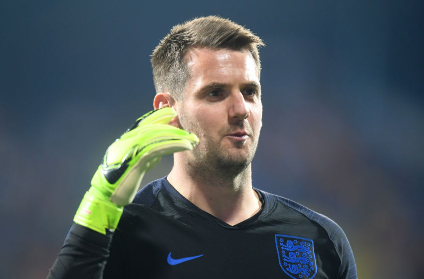 PODGORICA, MONTENEGRO - MARCH 25: Tom Heaton of England looks on prior to the 2020 UEFA European Championships Group A qualifying match between Montenegro and England at Podgorica City Stadium on March 25, 2019 in Podgorica, Montenegro. (Photo by Michael Regan/Getty Images)