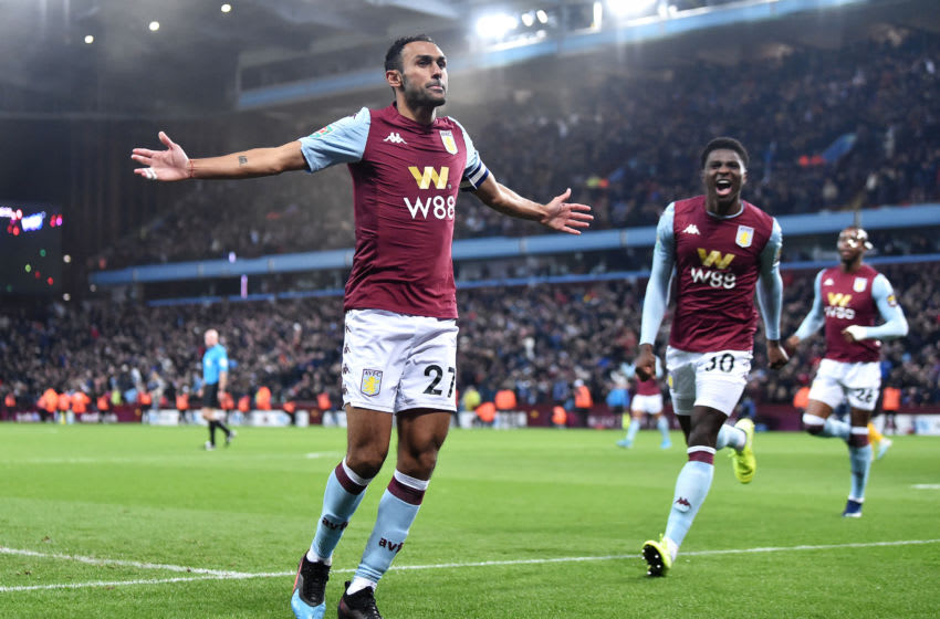 BIRMINGHAM, ENGLAND - OCTOBER 30: Ahmed El Mohamady of Aston Villa celebrates after scoring his team's second goal during the Carabao Cup Round of 16 match between Aston Villa and Wolverhampton Wanderers at Villa Park on October 30, 2019 in Birmingham, England. (Photo by Nathan Stirk/Getty Images)