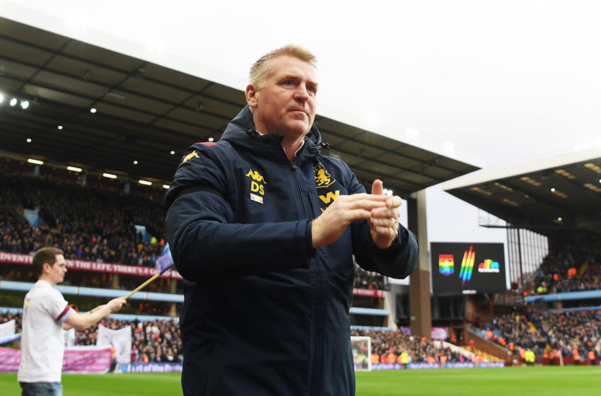 BIRMINGHAM, ENGLAND - DECEMBER 08: Dean Smith, Manager of Aston Villa acknowledges the fans prior to the Premier League match between Aston Villa and Leicester City at Villa Park on December 08, 2019 in Birmingham, United Kingdom. (Photo by Michael Regan/Getty Images)