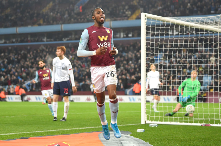 BIRMINGHAM, ENGLAND - DECEMBER 17: Jonathan Kodija of Aston Villa celebrates after scoring his team's fourth goal during the Carabao Cup Quarter Final match between Aston Villa and Liverpool FC at Villa Park on December 17, 2019 in Birmingham, England. (Photo by Michael Regan/Getty Images)