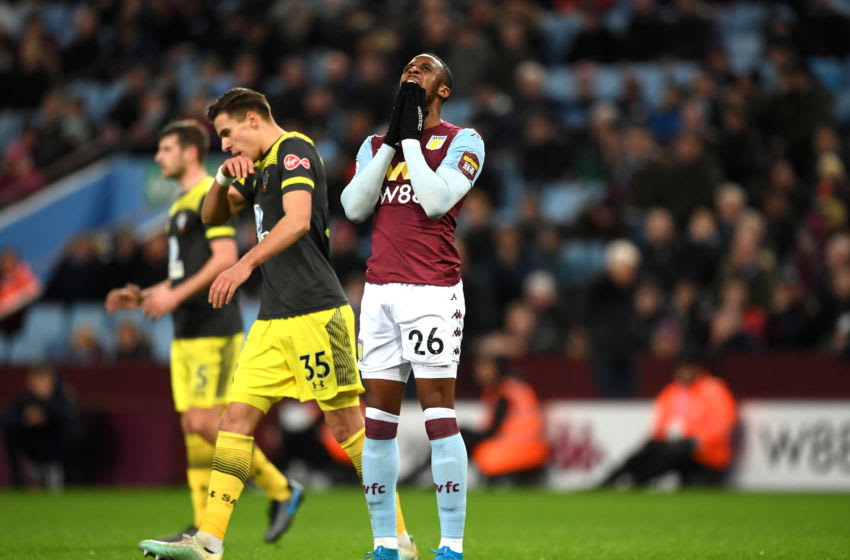 BIRMINGHAM, ENGLAND - DECEMBER 21: Jonathan Kodija of Aston Villa looks dejected during the Premier League match between Aston Villa and Southampton FC at Villa Park on December 21, 2019 in Birmingham, United Kingdom. (Photo by Shaun Botterill/Getty Images)