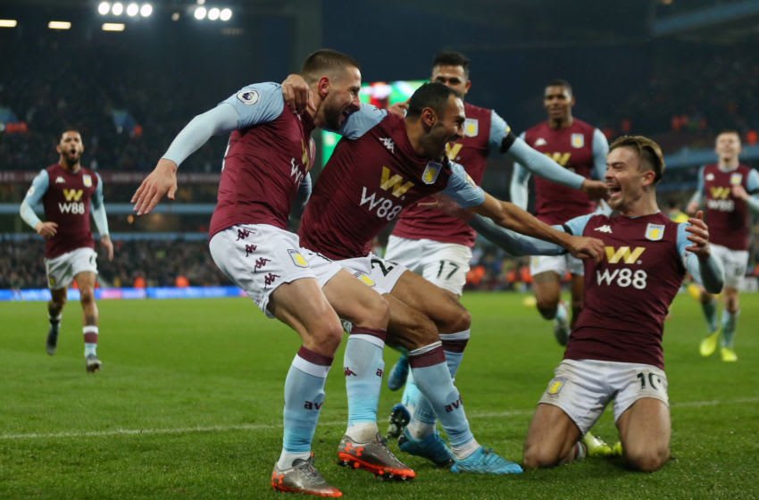 BIRMINGHAM, ENGLAND - DECEMBER 26: Conor Hourihane of Aston Villa celebrates with team-mates after scoring the opening goal during the Premier League match between Aston Villa and Norwich City at Villa Park on December 26, 2019 in Birmingham, United Kingdom. (Photo by Paul Harding/Getty Images)