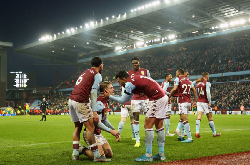 BIRMINGHAM, ENGLAND - DECEMBER 26: Jack Grealish of Aston Villa celebrates with team-mates after Conor Hourihane scored the opening goal during the Premier League match between Aston Villa and Norwich City at Villa Park on December 26, 2019 in Birmingham, United Kingdom. (Photo by Paul Harding/Getty Images)