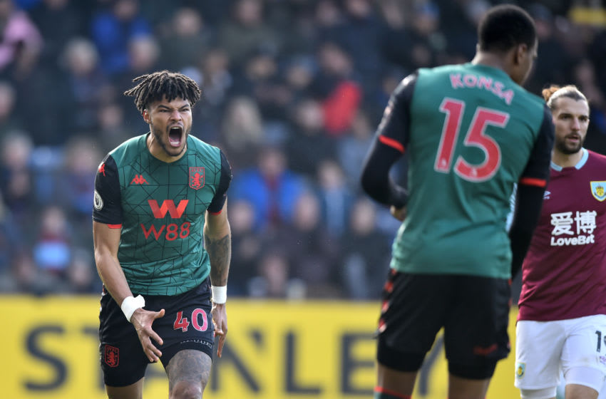 BURNLEY, ENGLAND - JANUARY 01: Tyrone Mings of Aston Villa reacts during the Premier League match between Burnley FC and Aston Villa at Turf Moor on January 01, 2020 in Burnley, United Kingdom. (Photo by Nathan Stirk/Getty Images)