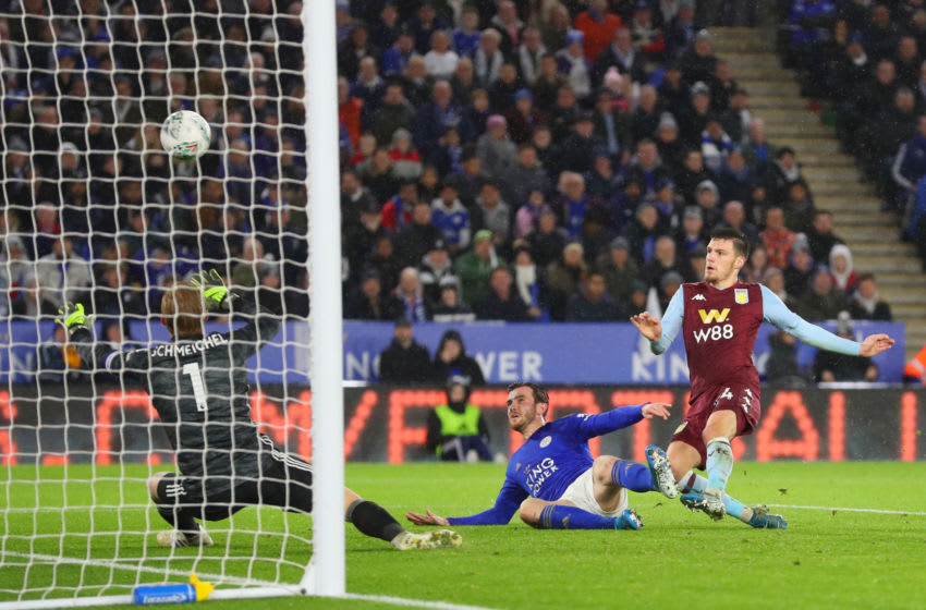 LEICESTER, ENGLAND - JANUARY 08: Frederic Guilbert of Aston Villa scores the opening goal during the Carabao Cup Semi Final match between Leicester City and Aston Villa at The King Power Stadium on January 08, 2020 in Leicester, England. (Photo by Catherine Ivill/Getty Images)