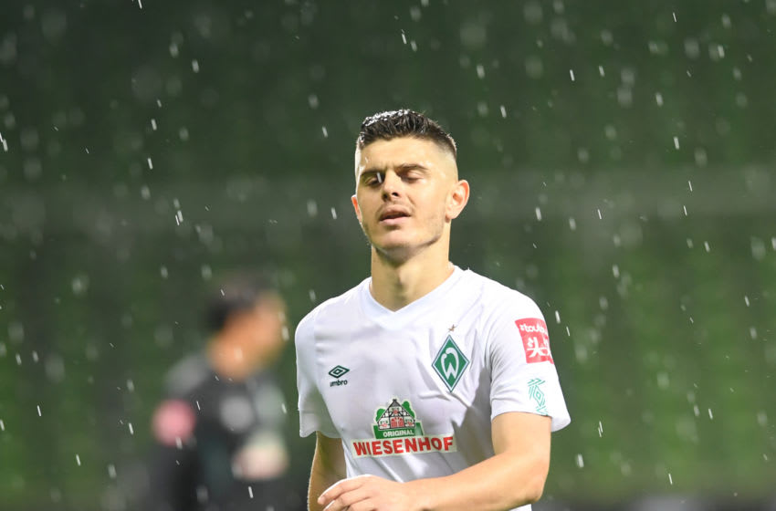 Bremen's Kosovan midfielder Milot Rashica walks off the pitch after the German Bundesliga relegation first-leg football match Werder Bremen v 1 FC Heidenheim 1846 on July 2, 2020 in Bremen, northern Germany. (Photo by Carmen JASPERSEN / various sources / AFP) / DFL REGULATIONS PROHIBIT ANY USE OF PHOTOGRAPHS AS IMAGE SEQUENCES AND/OR QUASI-VIDEO (Photo by CARMEN JASPERSEN/AFP via Getty Images)