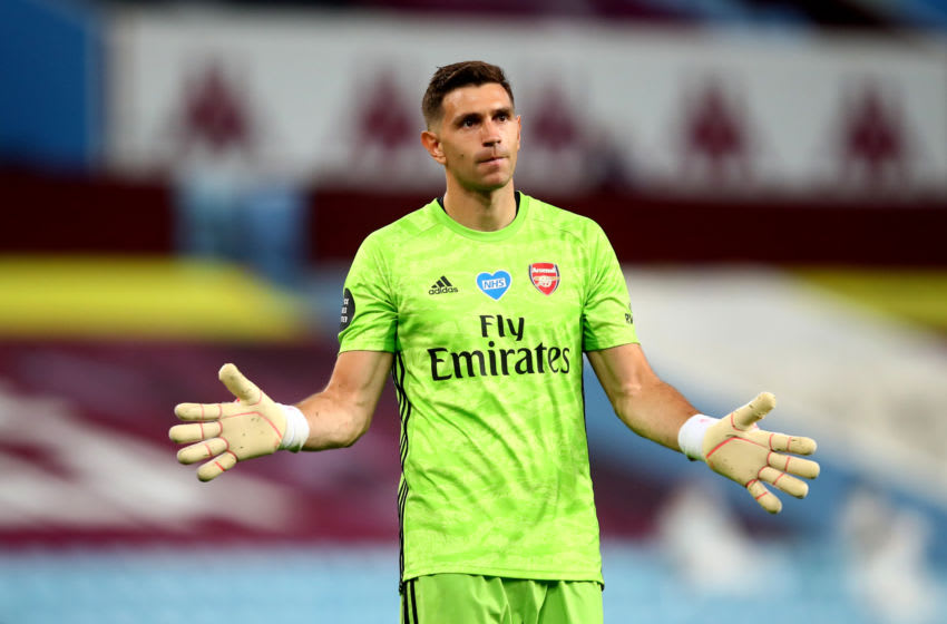 BIRMINGHAM, ENGLAND - JULY 21: Emiliano Martinez of Arsenal during the Premier League match between Aston Villa and Arsenal FC at Villa Park on July 21, 2020 in Birmingham, United Kingdom. Football Stadiums around Europe remain empty due to the Coronavirus Pandemic as Government social distancing laws prohibit fans inside venues resulting in all fixtures being played behind closed doors. (Photo by Marc Atkins/Getty Images)