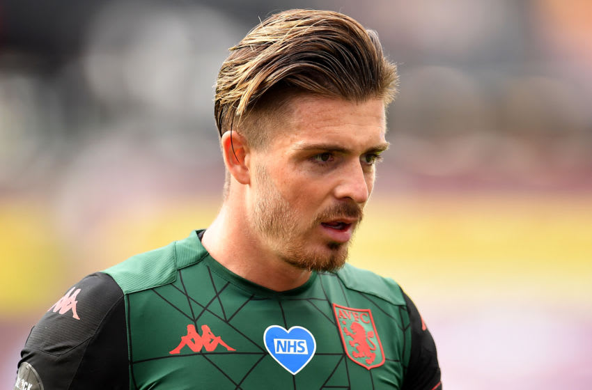 LONDON, ENGLAND - JULY 26: An NHS heart logo is seen on the shirt of Jack Grealish of Aston Villa during the Premier League match between West Ham United and Aston Villa at London Stadium on July 26, 2020 in London, England. (Photo by Justin Setterfield/Getty Images)