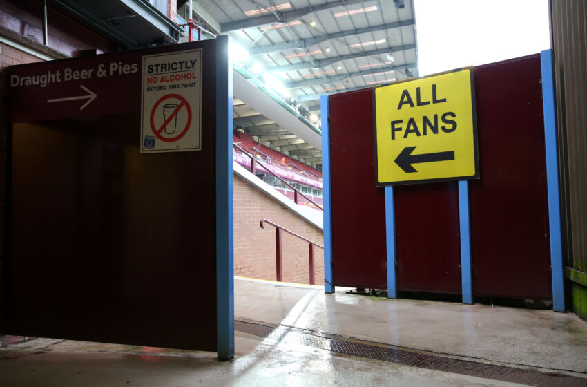 BIRMINGHAM, ENGLAND - MAY 13: A general view inside the stadium as a sign which directs fans to their seats is seen prior to the Premier League match between Aston Villa and Everton at Villa Park on May 13, 2021 in Birmingham, England. Sporting stadiums around England remain under strict restrictions due to the Coronavirus Pandemic as Government social distancing laws prohibit fans inside venues resulting in games being played behind closed doors. (Photo by Alex Livesey/Getty Images)