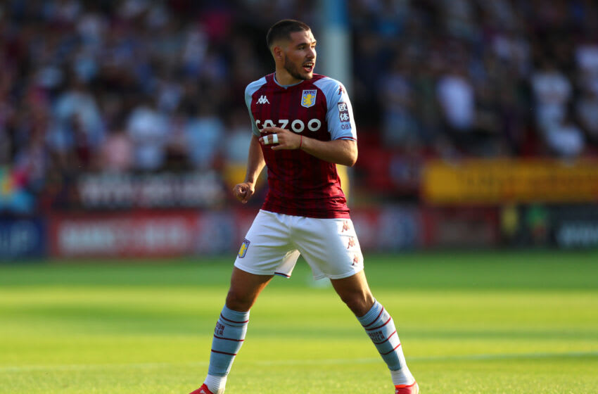 WALSALL, ENGLAND - JULY 21: Emiliao Buendia of Aston Villa during the Pre Season Friendly between Walsall and Aston Villa at Banks's Stadium on July 21, 2021 in Walsall, England. (Photo by Chloe Knott - Danehouse/Getty Images)