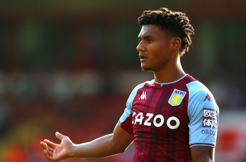 WALSALL, ENGLAND - JULY 21: Ollie Watkins of Aston Villa gestures during the Pre Season Friendly between Walsall and Aston Villa at Banks's Stadium on July 21, 2021 in Walsall, England. (Photo by Chloe Knott - Danehouse/Getty Images)