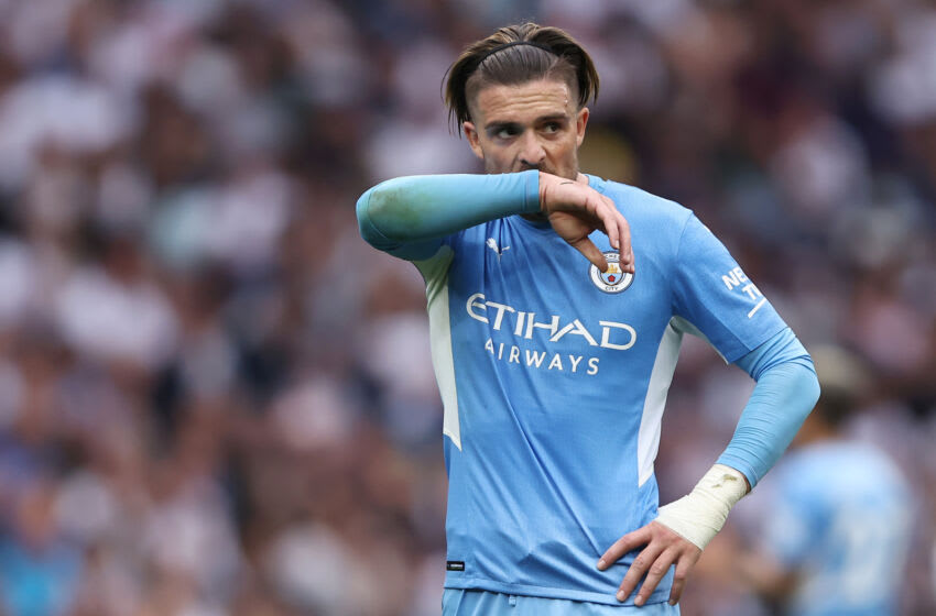 LONDON, ENGLAND - AUGUST 15: Jack Grealish of Manchester City reacts during the Premier League match between Tottenham Hotspur and Manchester City at Tottenham Hotspur Stadium on August 15, 2021 in London, England. (Photo by Marc Atkins/Getty Images)