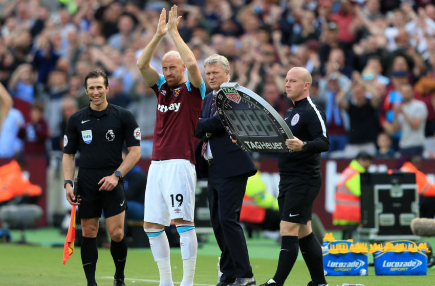 LONDON, ENGLAND - MAY 13: James Collins of West Ham United shows appreciation to the fans during the Premier League match between West Ham United and Everton at London Stadium on May 13, 2018 in London, England. (Photo by Stephen Pond/Getty Images)