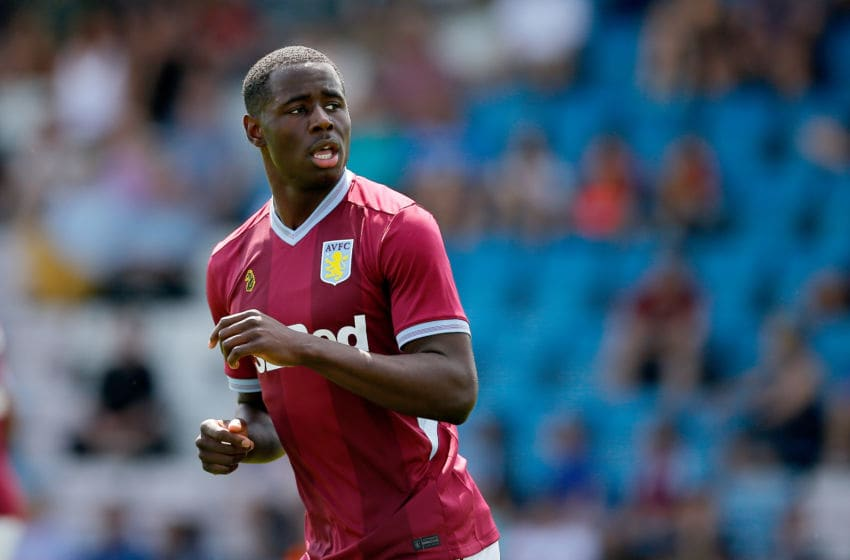 TELFORD, ENGLAND - JULY 14: Keinan Davis of Aston Villa during the Pre-season friendly between AFC Telford United and Aston Villa at New Bucks Head Stadium on July 14, 2018 in Telford, England. (Photo by Malcolm Couzens/Getty Images)