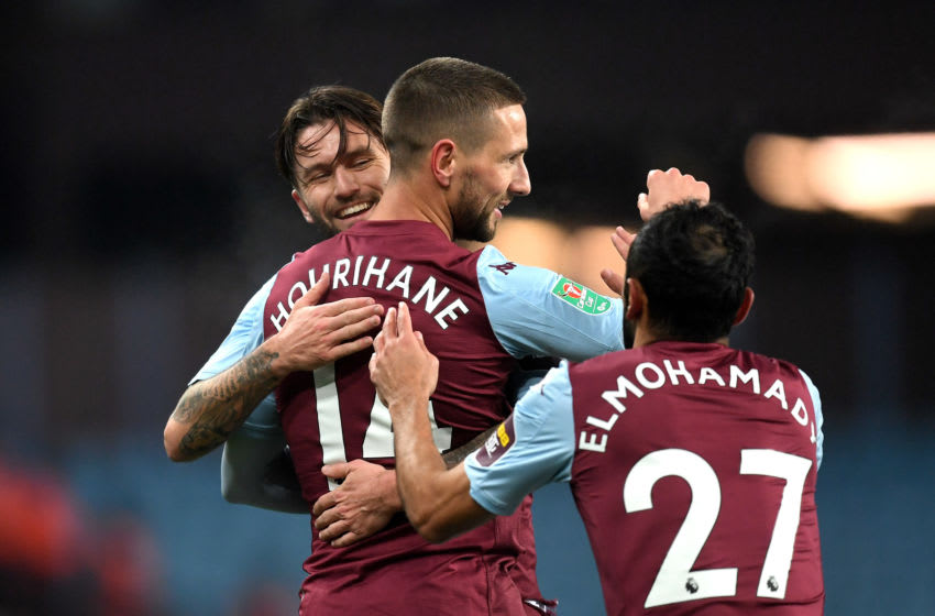 BIRMINGHAM, ENGLAND - DECEMBER 17: Conor Hourihane of Aston Villa celebrates with teammate Henri Lansbury after scoring his team's first goal during the Carabao Cup Quarter Final match between Aston Villa and Liverpool FC at Villa Park on December 17, 2019 in Birmingham, England. (Photo by Michael Regan/Getty Images)