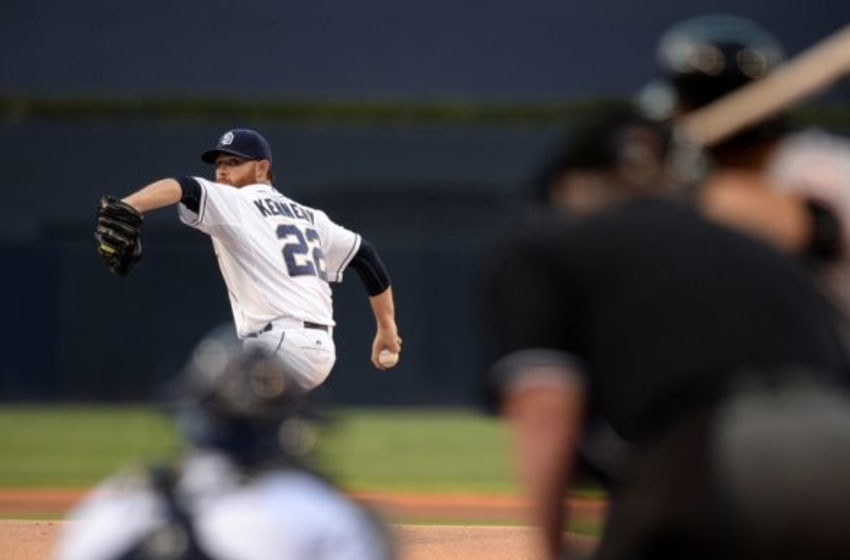 Sep 24, 2015; San Diego, CA, USA; San Diego Padres starting pitcher Ian Kennedy (22) pitches during the first inning against the San Francisco Giants at Petco Park. Mandatory Credit: Jake Roth-USA TODAY Sports