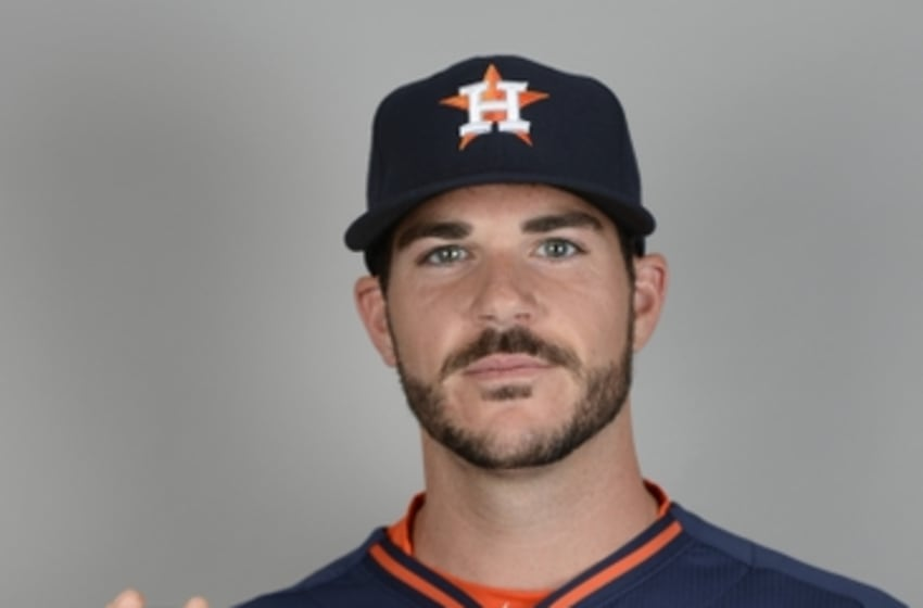 Feb 26, 2015; Kissimmee, FL, USA; Houston Astros pitcher James Hoyt poses for a picture during photo day at Osceola County Stadium Mandatory Credit: Tommy Gilligan-USA TODAY Sports