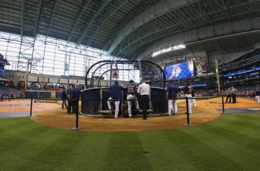 Oct 11, 2015; Houston, TX, USA; General view of batting practice before game three of the ALDS between the Houston Astros and the Kansas City Royals at Minute Maid Park. Mandatory Credit: Troy Taormina-USA TODAY Sports