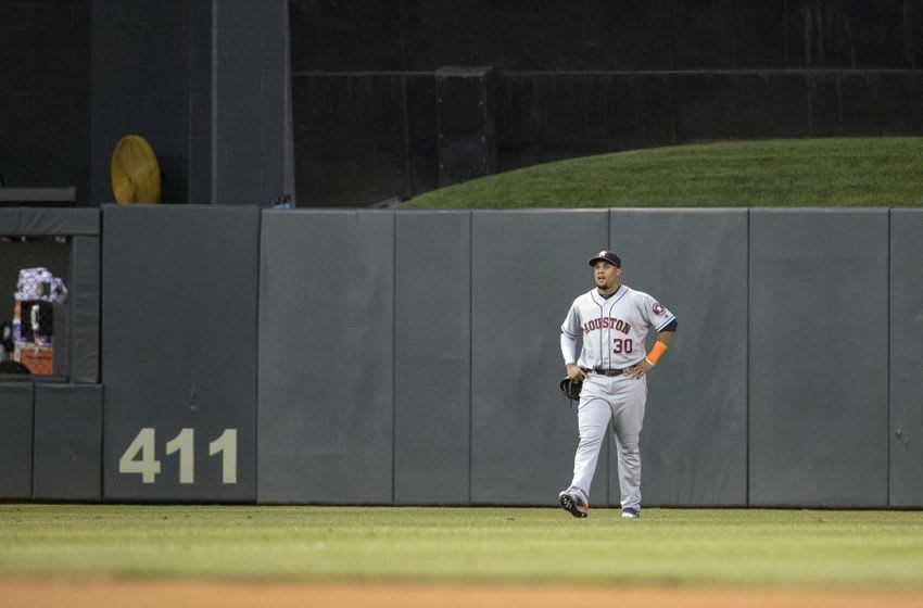 Aug 8, 2016; Minneapolis, MN, USA; Houston Astros center fielder Carlos Gomez (30) looks on after losing the ball in the lights during the fifth inning against the Minnesota Twins at Target Field. Mandatory Credit: Jesse Johnson-USA TODAY Sports