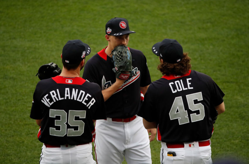 WASHINGTON, DC - JULY 16: Justin Verlander #35, Blake Snell #4 and Gerrit Cole #45 chat during Gatorade All-Star Workout Day at Nationals Park on July 16, 2018 in Washington, DC. (Photo by Patrick McDermott/Getty Images)
