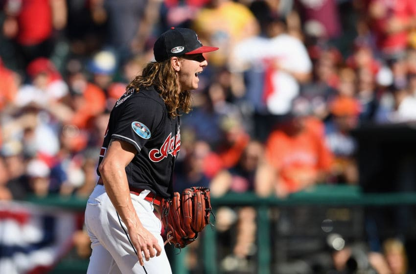 CLEVELAND, OH - OCTOBER 08: Mike Clevinger #52 of the Cleveland Indians reacts after walking Alex Bregman #2 of the Houston Astros (not pictured) in the fifth inning during Game Three of the American League Division Series at Progressive Field on October 8, 2018 in Cleveland, Ohio. (Photo by Jason Miller/Getty Images)