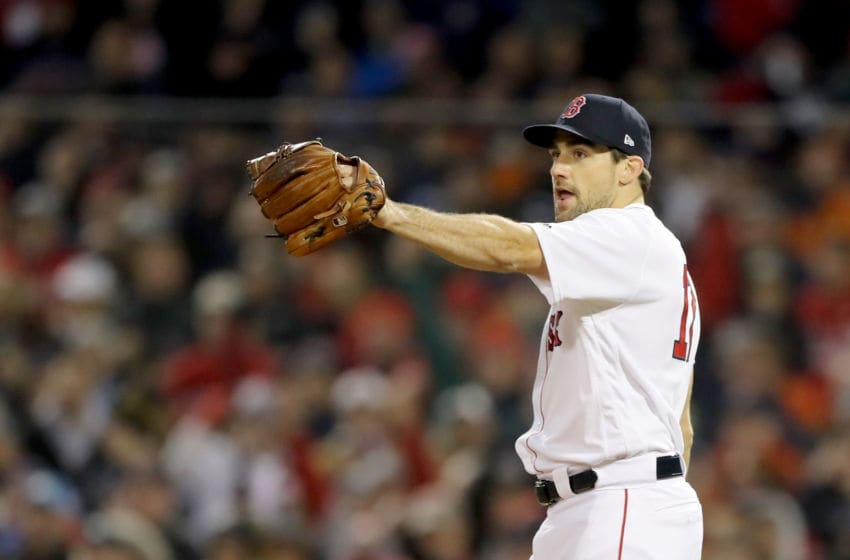 BOSTON, MA - OCTOBER 23: Nathan Eovaldi #17 of the Boston Red Sox reacts during the eighth inning against the Los Angeles Dodgers in Game One of the 2018 World Series at Fenway Park on October 23, 2018 in Boston, Massachusetts. The Red Sox defeated the Los Angeles Dodgers 8-4. (Photo by Elsa/Getty Images)