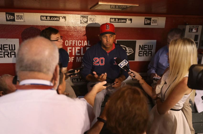 PHOENIX, ARIZONA - APRIL 05: Manager Alex Cora #20 of the Boston Red Sox speaks with the media before the MLB game against the Arizona Diamondbacks at Chase Field on April 05, 2019 in Phoenix, Arizona. (Photo by Christian Petersen/Getty Images)