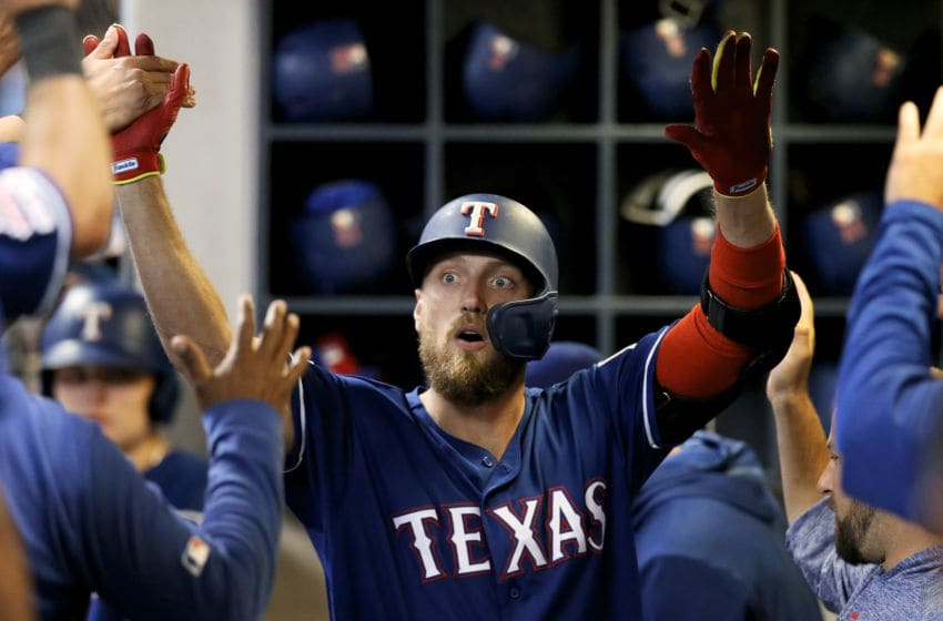 MILWAUKEE, WISCONSIN - AUGUST 09: Hunter Pence #24 of the Texas Rangers celebrates with teammates after hitting a home run in the fourth inning against the Milwaukee Brewers at Miller Park on August 09, 2019 in Milwaukee, Wisconsin. (Photo by Dylan Buell/Getty Images)